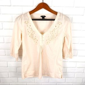 H&M Pink Blouse 3/4 Length Sleeve V-Neck Floral M